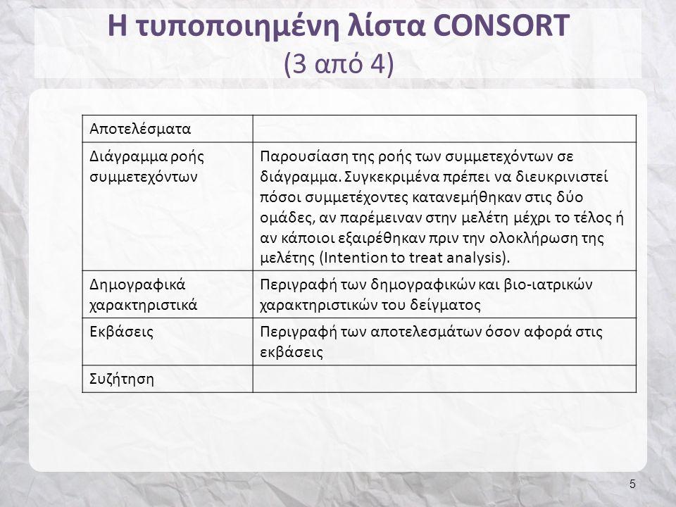 Η τυποποιημένη λίστα CONSORT (4 από 4) 6 Κύρια ευρήματαΠεριγραφή των κύριων ευρημάτων σε σχέση με τους σκοπούς της μελέτης Ερμηνεία ευρημάτων Ερμηνεία των ευρημάτων βάσει των ερευνητικών υποθέσεων, πηγές σφαλμάτων Περιορισμοί και δυνατά σημεία μελέτης Αναγνώριση και περιγραφή των περιορισμών και των δυνατών σημείων της μελέτης.