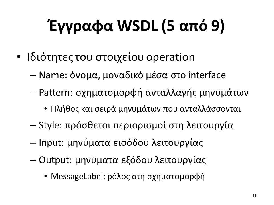 Έγγραφα WSDL (5 από 9) Ιδιότητες του στοιχείου operation – Name: όνομα, μοναδικό μέσα στο interface – Pattern: σχηματομορφή ανταλλαγής μηνυμάτων Πλήθος και σειρά μηνυμάτων που ανταλλάσσονται – Style: πρόσθετοι περιορισμοί στη λειτουργία – Input: μηνύματα εισόδου λειτουργίας – Output: μηνύματα εξόδου λειτουργίας MessageLabel: ρόλος στη σχηματομορφή 16