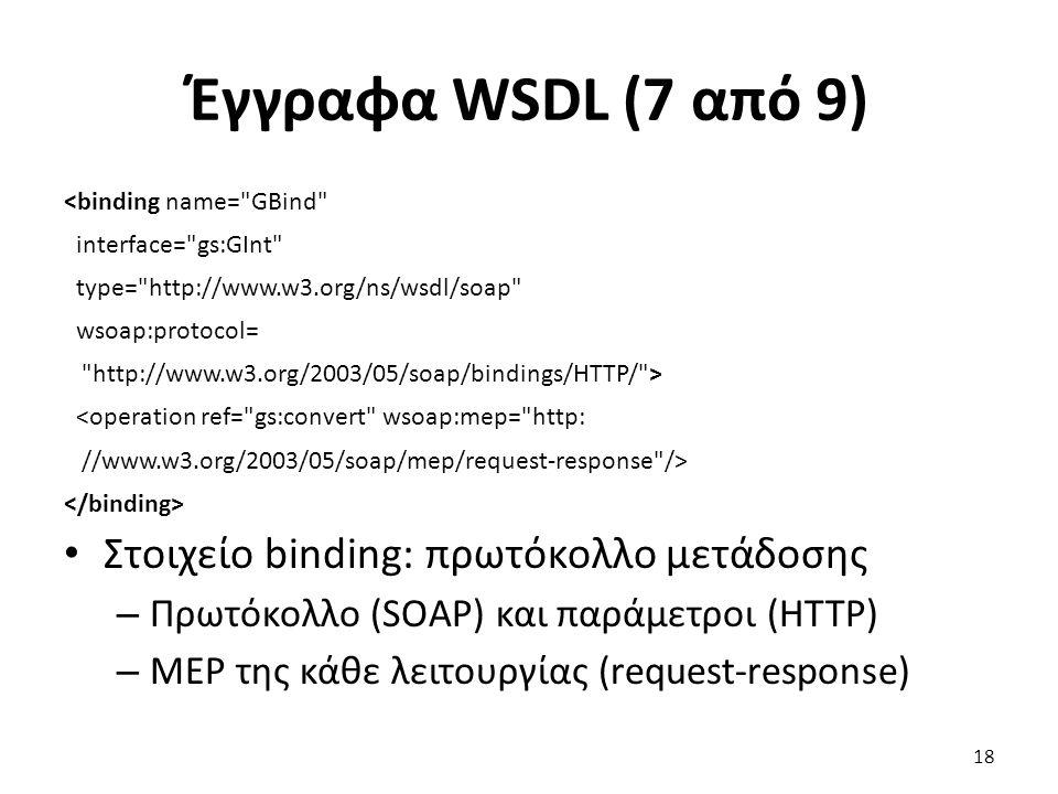 Έγγραφα WSDL (7 από 9) <binding name= GBind interface= gs:GInt type= http://www.w3.org/ns/wsdl/soap wsoap:protocol= http://www.w3.org/2003/05/soap/bindings/HTTP/ > <operation ref= gs:convert wsoap:mep= http: //www.w3.org/2003/05/soap/mep/request-response /> Στοιχείο binding: πρωτόκολλο μετάδοσης – Πρωτόκολλο (SOAP) και παράμετροι (HTTP) – MEP της κάθε λειτουργίας (request-response) 18