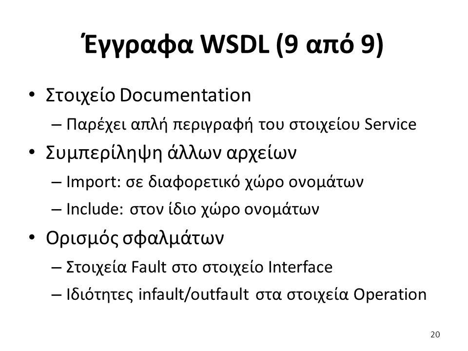 Έγγραφα WSDL (9 από 9) Στοιχείο Documentation – Παρέχει απλή περιγραφή του στοιχείου Service Συμπερίληψη άλλων αρχείων – Import: σε διαφορετικό χώρο ονομάτων – Include: στον ίδιο χώρο ονομάτων Ορισμός σφαλμάτων – Στοιχεία Fault στο στοιχείο Interface – Ιδιότητες infault/outfault στα στοιχεία Operation 20