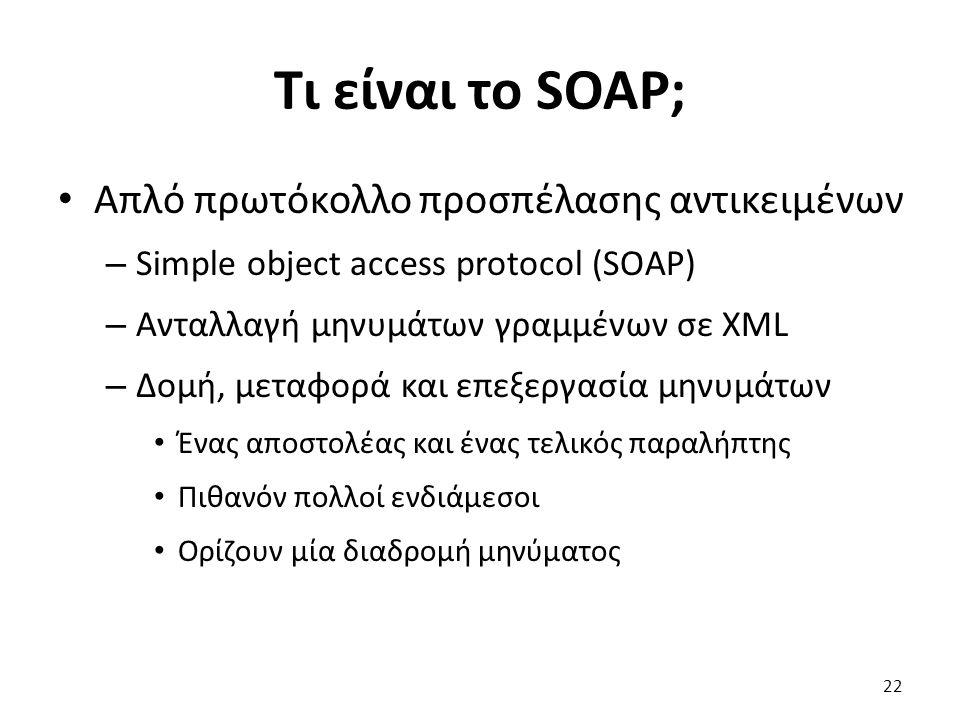 Τι είναι το SOAP; Απλό πρωτόκολλο προσπέλασης αντικειμένων – Simple object access protocol (SOAP) – Ανταλλαγή μηνυμάτων γραμμένων σε XML – Δομή, μεταφορά και επεξεργασία μηνυμάτων Ένας αποστολέας και ένας τελικός παραλήπτης Πιθανόν πολλοί ενδιάμεσοι Ορίζουν μία διαδρομή μηνύματος 22