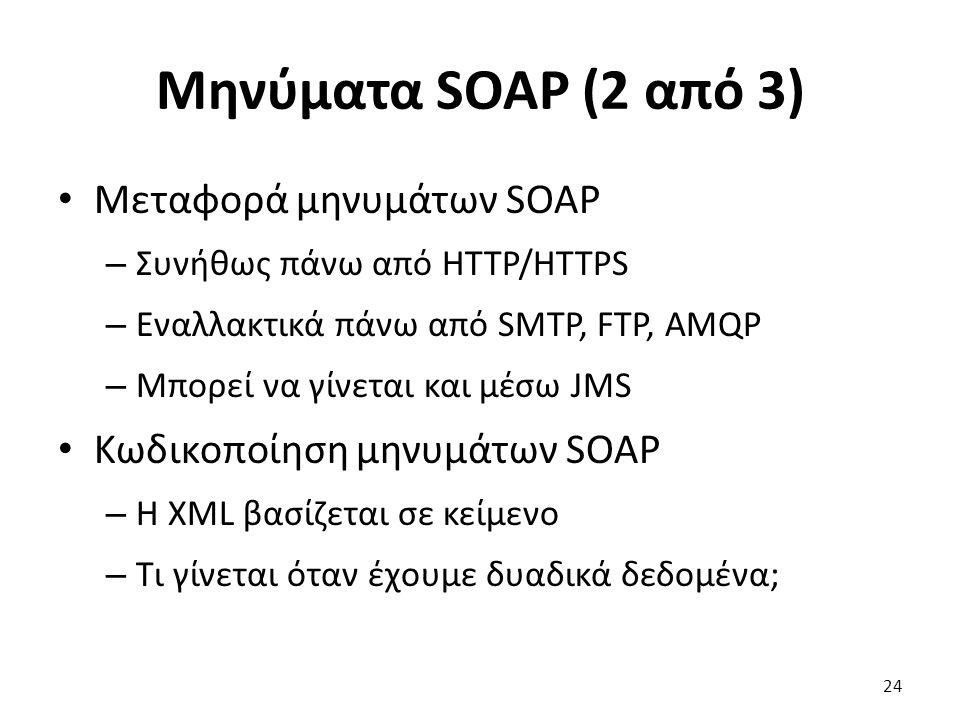 Μηνύματα SOAP (2 από 3) Μεταφορά μηνυμάτων SOAP – Συνήθως πάνω από HTTP/HTTPS – Εναλλακτικά πάνω από SMTP, FTP, AMQP – Μπορεί να γίνεται και μέσω JMS Κωδικοποίηση μηνυμάτων SOAP – Η XML βασίζεται σε κείμενο – Τι γίνεται όταν έχουμε δυαδικά δεδομένα; 24