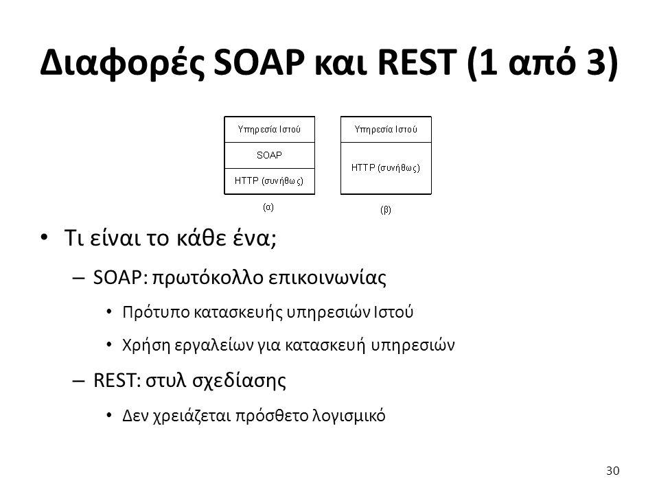 Διαφορές SOAP και REST (1 από 3) Τι είναι το κάθε ένα; – SOAP: πρωτόκολλο επικοινωνίας Πρότυπο κατασκευής υπηρεσιών Ιστού Χρήση εργαλείων για κατασκευή υπηρεσιών – REST: στυλ σχεδίασης Δεν χρειάζεται πρόσθετο λογισμικό 30
