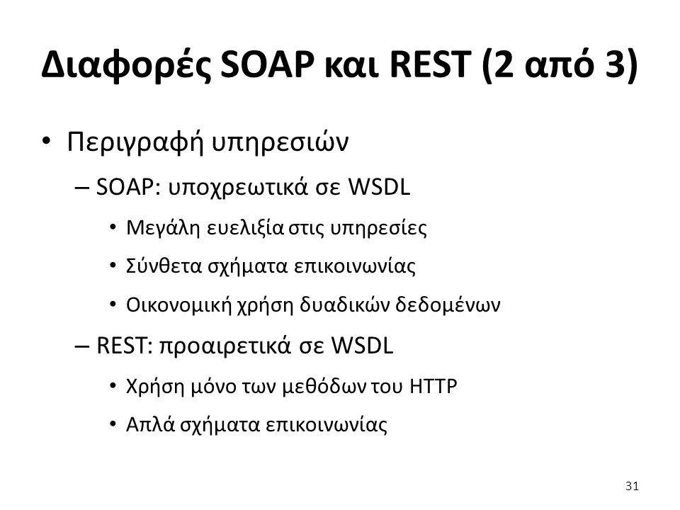 Διαφορές SOAP και REST (2 από 3) Περιγραφή υπηρεσιών – SOAP: υποχρεωτικά σε WSDL Μεγάλη ευελιξία στις υπηρεσίες Σύνθετα σχήματα επικοινωνίας Οικονομική χρήση δυαδικών δεδομένων – REST: προαιρετικά σε WSDL Χρήση μόνο των μεθόδων του HTTP Απλά σχήματα επικοινωνίας 31