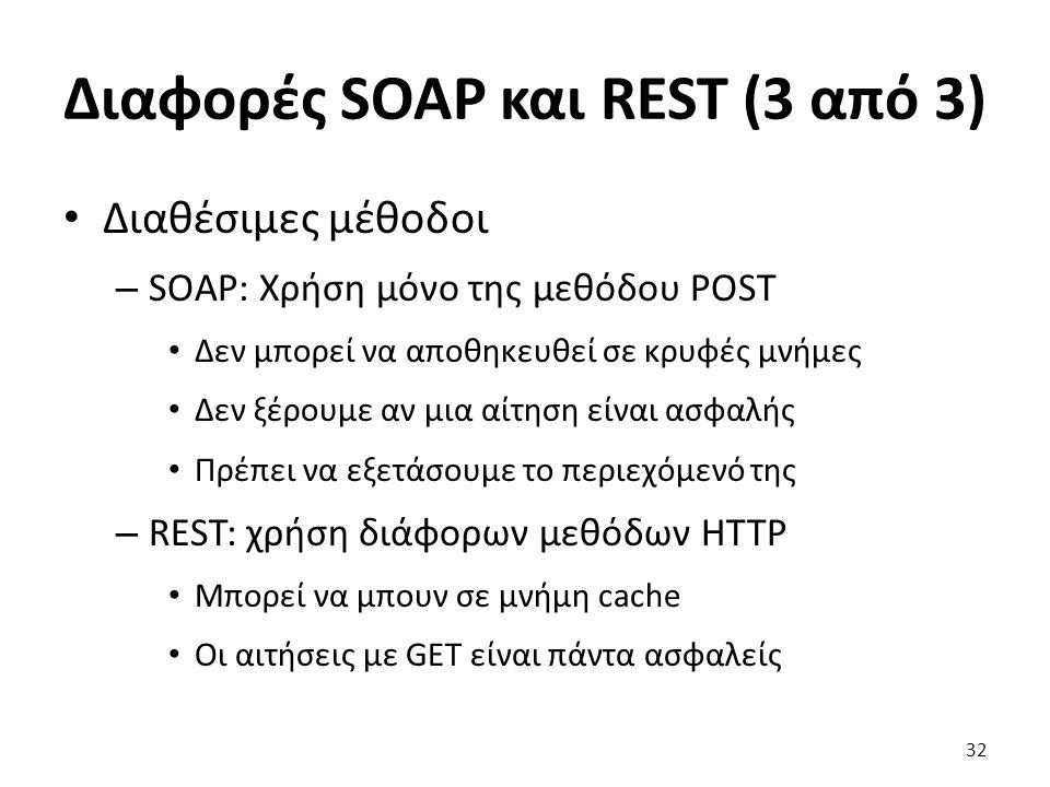 Διαφορές SOAP και REST (3 από 3) Διαθέσιμες μέθοδοι – SOAP: Χρήση μόνο της μεθόδου POST Δεν μπορεί να αποθηκευθεί σε κρυφές μνήμες Δεν ξέρουμε αν μια αίτηση είναι ασφαλής Πρέπει να εξετάσουμε το περιεχόμενό της – REST: χρήση διάφορων μεθόδων HTTP Μπορεί να μπουν σε μνήμη cache Οι αιτήσεις με GET είναι πάντα ασφαλείς 32