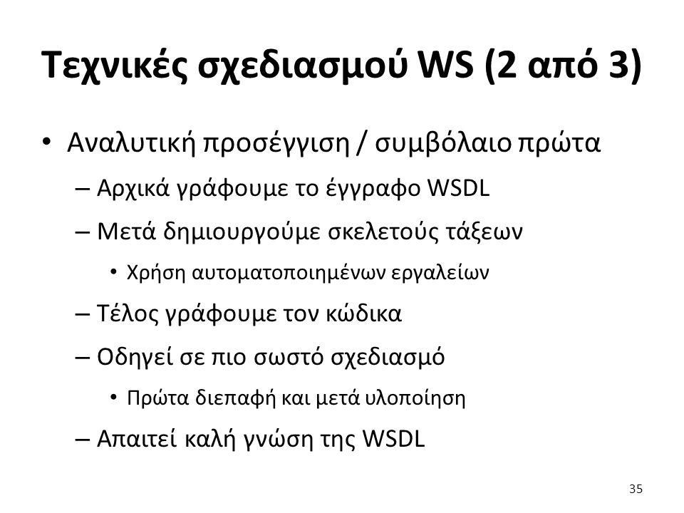 Τεχνικές σχεδιασμού WS (2 από 3) Αναλυτική προσέγγιση / συμβόλαιο πρώτα – Αρχικά γράφουμε το έγγραφο WSDL – Μετά δημιουργούμε σκελετούς τάξεων Χρήση αυτοματοποιημένων εργαλείων – Τέλος γράφουμε τον κώδικα – Οδηγεί σε πιο σωστό σχεδιασμό Πρώτα διεπαφή και μετά υλοποίηση – Απαιτεί καλή γνώση της WSDL 35