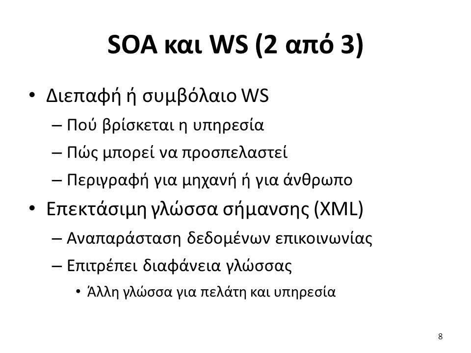 SOA και WS (2 από 3) Διεπαφή ή συμβόλαιο WS – Πού βρίσκεται η υπηρεσία – Πώς μπορεί να προσπελαστεί – Περιγραφή για μηχανή ή για άνθρωπο Επεκτάσιμη γλώσσα σήμανσης (XML) – Αναπαράσταση δεδομένων επικοινωνίας – Επιτρέπει διαφάνεια γλώσσας Άλλη γλώσσα για πελάτη και υπηρεσία 8