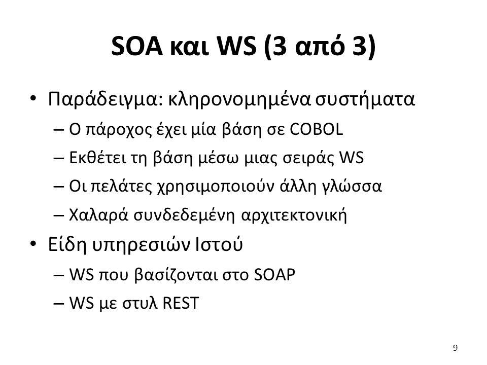 SOA και WS (3 από 3) Παράδειγμα: κληρονομημένα συστήματα – Ο πάροχος έχει μία βάση σε COBOL – Εκθέτει τη βάση μέσω μιας σειράς WS – Οι πελάτες χρησιμοποιούν άλλη γλώσσα – Χαλαρά συνδεδεμένη αρχιτεκτονική Είδη υπηρεσιών Ιστού – WS που βασίζονται στο SOAP – WS με στυλ REST 9
