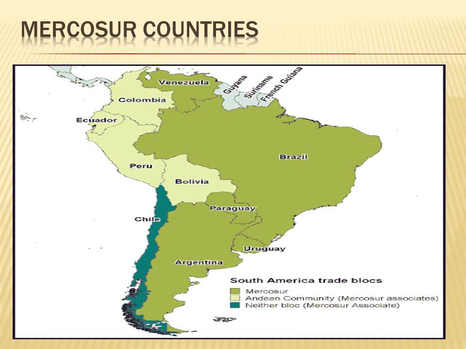  1985: Πρόεδροι Raúl Alfonsín(Αργεντινή) και José Sarney (Βραζιλία)  Πρόγραμμα Ολοκλήρωσης και Οικονομικής Συνεργασίας (ηγετικός ρόλος Αργεντινής – Βραζιλίας)  Ίδρυση: 1991 από με Συνθήκη Ανσουνσιόν 1994 τροποποίηση με Συνθήκη του Ouro Preto  Full members: Αργεντινή, Βραζιλία, Παραγουάη, Ουρουγουάη, Βενεζουέλα (31/7/2012)  Associative members (new entries): Χιλή, Βολιβία, Κολομβία, Εκουαδόρ, Περού (Full members ≠ Associative members)  2006: Βενεζουέλα γίνεται μέλος – δυσαρέσκεια Παραγουάης