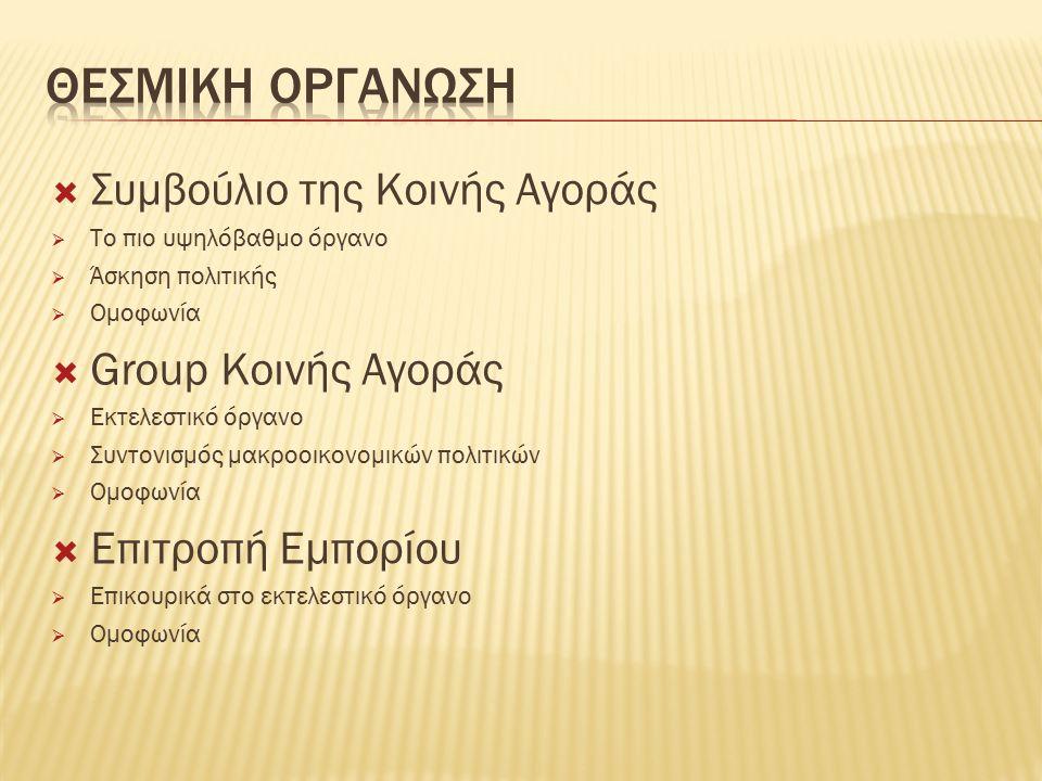  Συμβούλιο της Κοινής Αγοράς  Το πιο υψηλόβαθμο όργανο  Άσκηση πολιτικής  Ομοφωνία  Group Κοινής Αγοράς  Εκτελεστικό όργανο  Συντονισμός μακροοικονομικών πολιτικών  Ομοφωνία  Επιτροπή Εμπορίου  Επικουρικά στο εκτελεστικό όργανο  Ομοφωνία