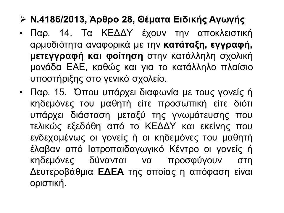  Ν.4186/2013, Άρθρο 28, Θέματα Ειδικής Αγωγής Παρ. 14. Τα ΚΕΔΔΥ έχουν την αποκλειστική αρμοδιότητα αναφορικά με την κατάταξη, εγγραφή, μετεγγραφή και