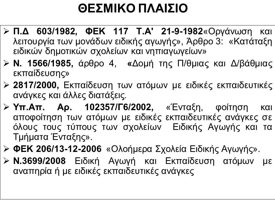 ΘΕΣΜΙΚΟ ΠΛΑΙΣΙΟ  Π.Δ 603/1982, ΦΕΚ 117 Τ.Α 21-9-1982«Οργάνωση και λειτουργία των μονάδων ειδικής αγωγής», Άρθρο 3: «Κατάταξη ειδικών δημοτικών σχολείων και νηπιαγωγείων»  Ν.