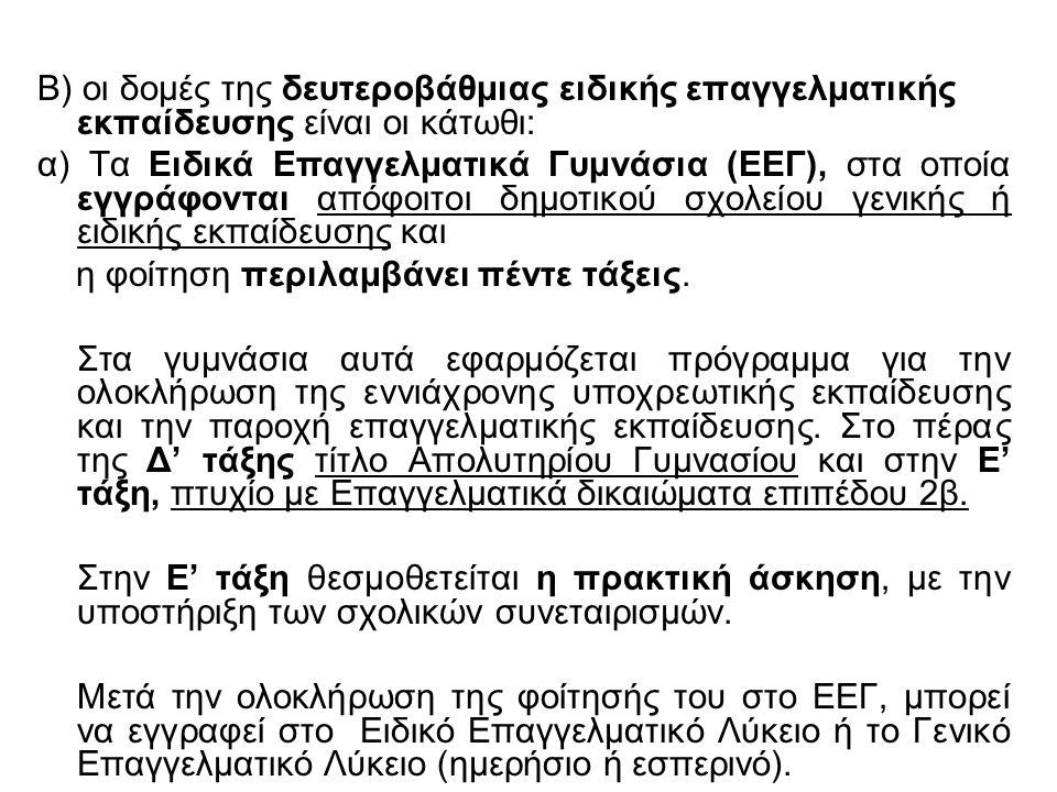 Β) οι δομές της δευτεροβάθμιας ειδικής επαγγελματικής εκπαίδευσης είναι οι κάτωθι: α) Τα Ειδικά Επαγγελματικά Γυμνάσια (ΕΕΓ), στα οποία εγγράφονται απ