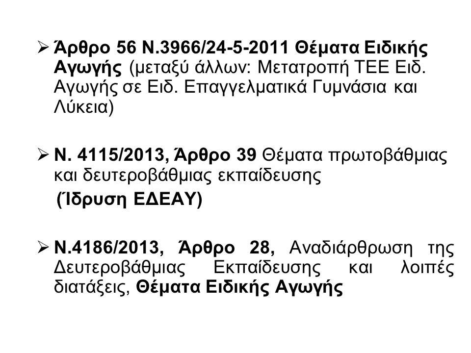  Άρθρο 56 Ν.3966/24-5-2011 Θέματα Ειδικής Αγωγής (μεταξύ άλλων: Μετατροπή ΤΕΕ Ειδ. Αγωγής σε Ειδ. Επαγγελματικά Γυμνάσια και Λύκεια)  Ν. 4115/2013,