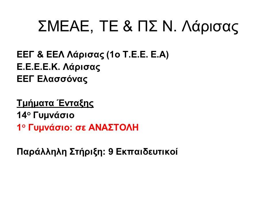ΣΜΕΑΕ, ΤΕ & ΠΣ Ν. Λάρισας EEΓ & ΕΕΛ Λάρισας (1ο Τ.Ε.Ε.