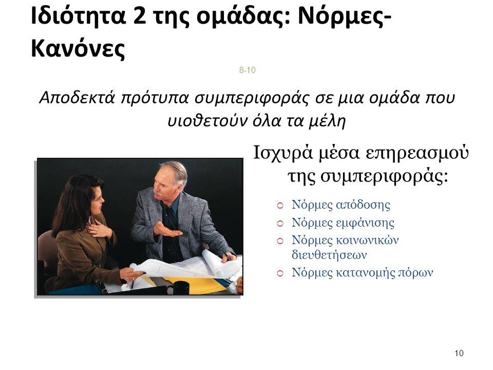Ιδιότητα 2 της ομάδας: Νόρμες- Κανόνες Αποδεκτά πρότυπα συμπεριφοράς σε μια ομάδα που υιοθετούν όλα τα μέλη 8-10 Ισχυρά μέσα επηρεασμού της συμπεριφοράς:  Νόρμες απόδοσης  Νόρμες εμφάνισης  Νόρμες κοινωνικών διευθετήσεων  Νόρμες κατανομής πόρων 10