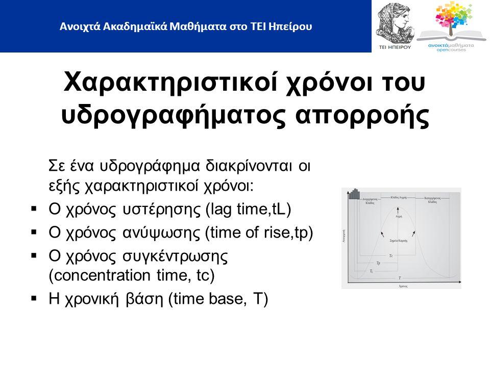 Σε ένα υδρογράφημα διακρίνονται οι εξής χαρακτηριστικοί χρόνοι:  Ο χρόνος υστέρησης (lag time,tL)  Ο χρόνος ανύψωσης (time of rise,tp)  Ο χρόνος συγκέντρωσης (concentration time, tc)  Η χρονική βάση (time base, T) Χαρακτηριστικοί χρόνοι του υδρογραφήματος απορροής Ανοιχτά Ακαδημαϊκά Μαθήματα στο ΤΕΙ Ηπείρου