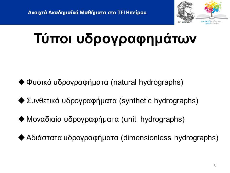 8 Τύποι υδρογραφημάτων  Φυσικά υδρογραφήματα (natural hydrographs)  Συνθετικά υδρογραφήματα (synthetic hydrographs)  Μοναδιαία υδρογραφήματα (unit hydrographs)  Αδιάστατα υδρογραφήματα (dimensionless hydrographs) Ανοιχτά Ακαδημαϊκά Μαθήματα στο ΤΕΙ Ηπείρου
