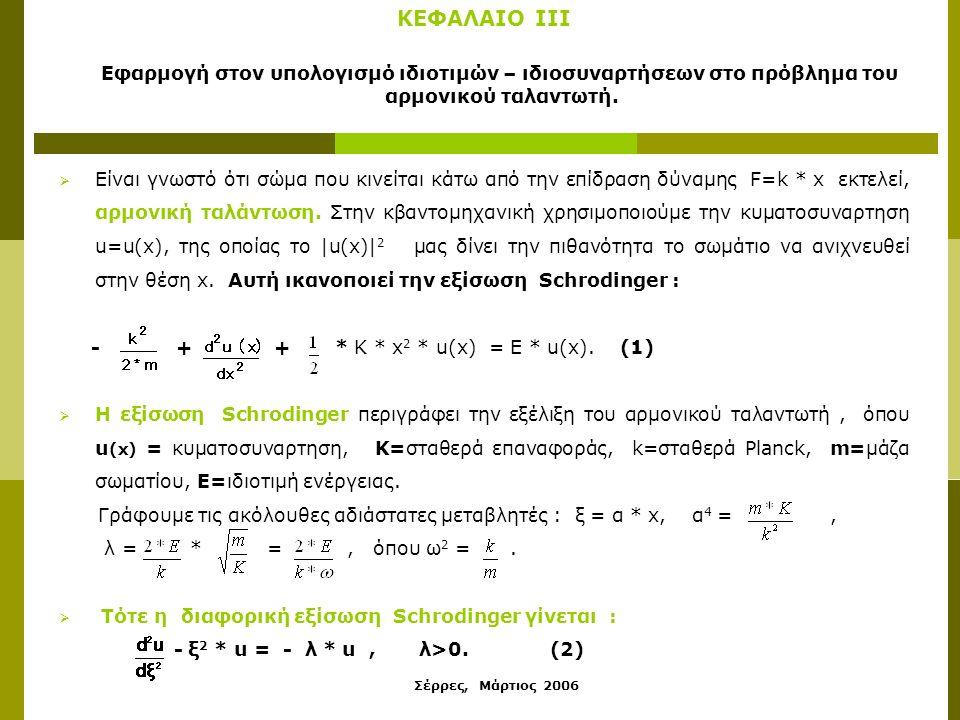 Σέρρες, Μάρτιος 2006 ΚΕΦΑΛΑΙΟ ΙII Εφαρμογή στον υπολογισμό ιδιοτιμών – ιδιοσυναρτήσεων στο πρόβλημα του αρμονικού ταλαντωτή.  Είναι γνωστό ότι σώμα π