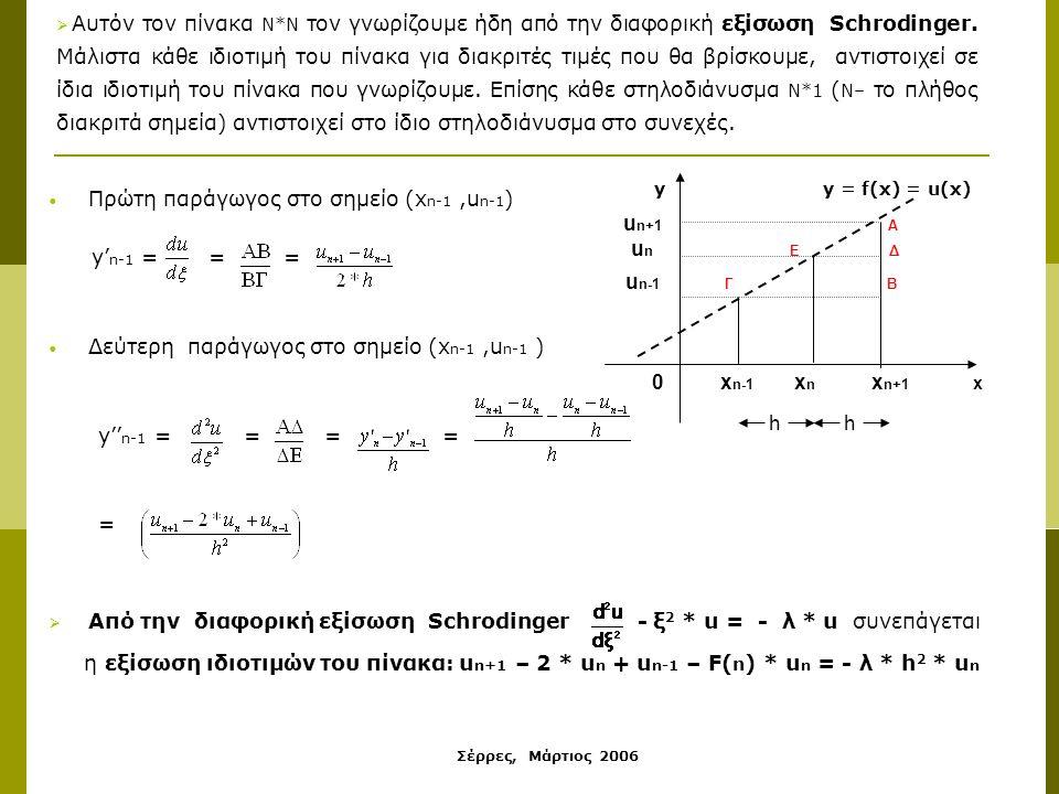 Σέρρες, Μάρτιος 2006 Πρώτη παράγωγος στο σημείο (x n-1,u n-1 ) y' n-1 = = = Δεύτερη παράγωγος στο σημείο (x n-1,u n-1 ) y'' n-1 = = = = =  Από την διαφορική εξίσωση Schrodinger - ξ 2 * u = - λ * u συνεπάγεται η εξίσωση ιδιοτιμών του πίνακα: u n+1 – 2 * u n + u n-1 – F( n ) * u n = - λ * h 2 * u n  Αυτόν τον πίνακα Ν*Ν τον γνωρίζουμε ήδη από την διαφορική εξίσωση Schrodinger.