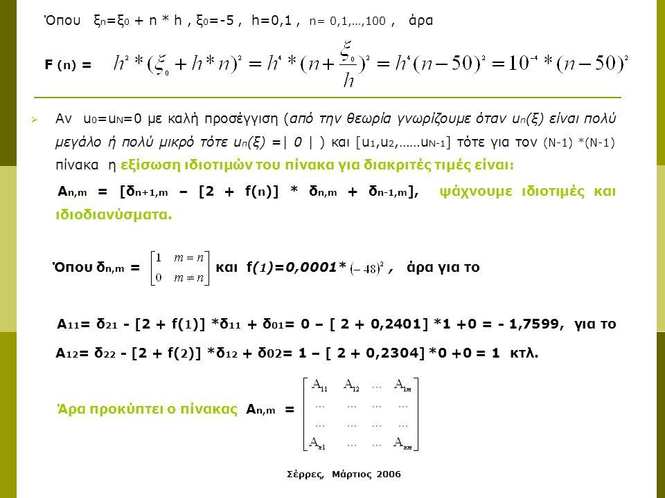 Σέρρες, Μάρτιος 2006 Όπου ξ n =ξ 0 + n * h, ξ 0 =-5, h=0,1, n= 0,1,…,100, άρα F (n) =  Αν u 0 =u N =0 με καλή προσέγγιση (από την θεωρία γνωρίζουμε όταν u n (ξ) είναι πολύ μεγάλο ή πολύ μικρό τότε u n (ξ) =| 0 | ) και [u 1,u 2,……u N-1 ] τότε για τον (N-1) *(N-1) πίνακα η εξίσωση ιδιοτιμών του πίνακα για διακριτές τιμές είναι: Α n,m = [δ n+1,m – [2 + f( n )] * δ n,m + δ n-1,m ], ψάχνουμε ιδιοτιμές και ιδιοδιανύσματα.