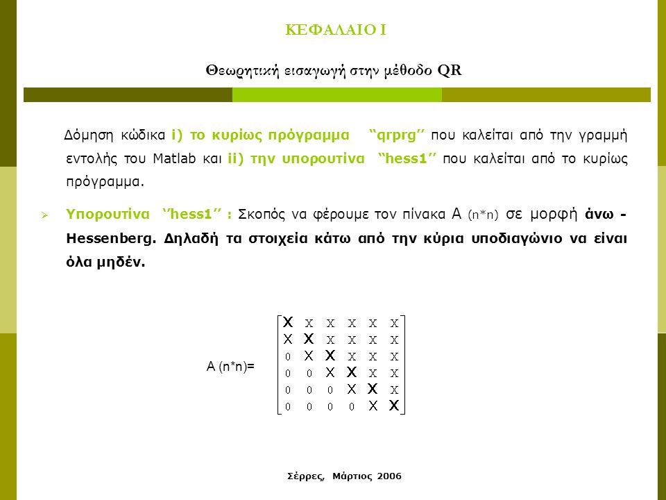 Σέρρες, Μάρτιος 2006 ΚΕΦΑΛΑΙΟ Ι Θεωρητική εισαγωγή στην μέθοδο QR Δόμηση κώδικα i) το κυρίως πρόγραμμα qrprg'' που καλείται από την γραμμή εντολής του Matlab και ii) την υπορουτίνα hess1'' που καλείται από το κυρίως πρόγραμμα.