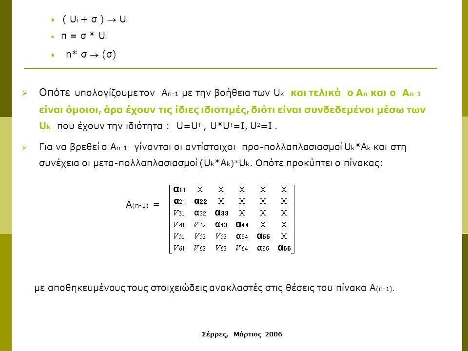 Σέρρες, Μάρτιος 2006  Οπότε υπολογίζουμε τον Α n-1 με την βοήθεια των U k και τελικά ο Α n και ο Α n-1 είναι όμοιοι, άρα έχουν τις ίδιες ιδιοτιμές, διότι είναι συνδεδεμένοι μέσω των U k που έχουν την ιδιότητα : U=U T, U*U T =I, U 2 =I.