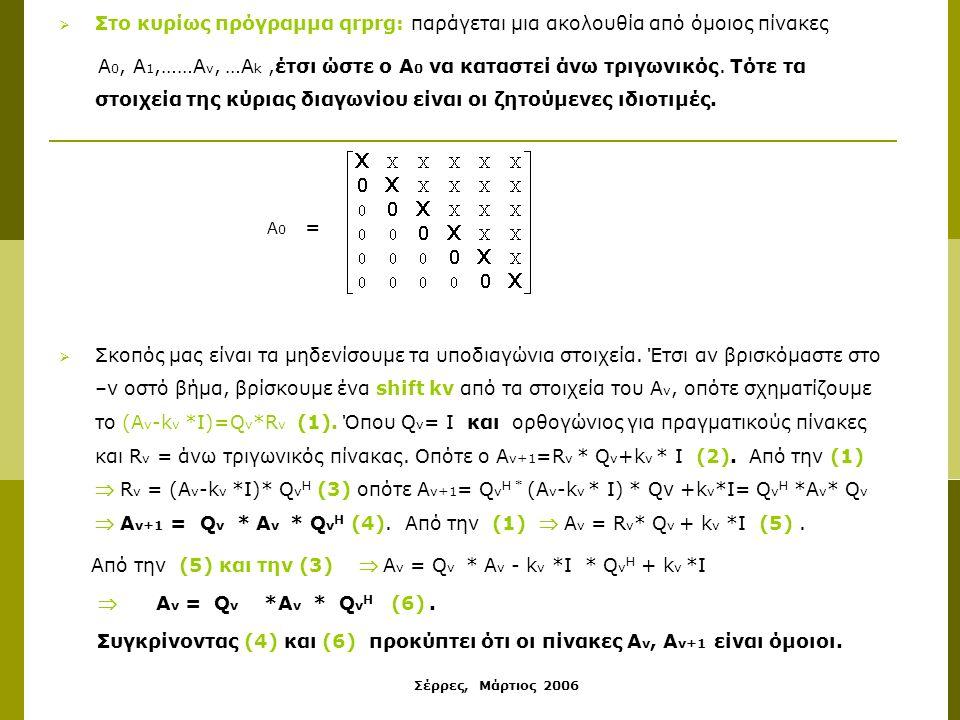 Σέρρες, Μάρτιος 2006  Στο κυρίως πρόγραμμα qrprg: παράγεται μια ακολουθία από όμοιος πίνακες Α 0, Α 1,……Α ν, …Α k,έτσι ώστε ο Α 0 να καταστεί άνω τριγωνικός.