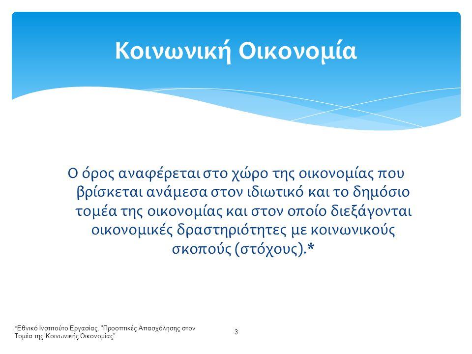 Στόχος: η αύξηση της συμμετοχής των κοινωνικών επιχειρήσεων και συνεταιρισμών από το 3% του ΑΕΠ της Ε.Ε.