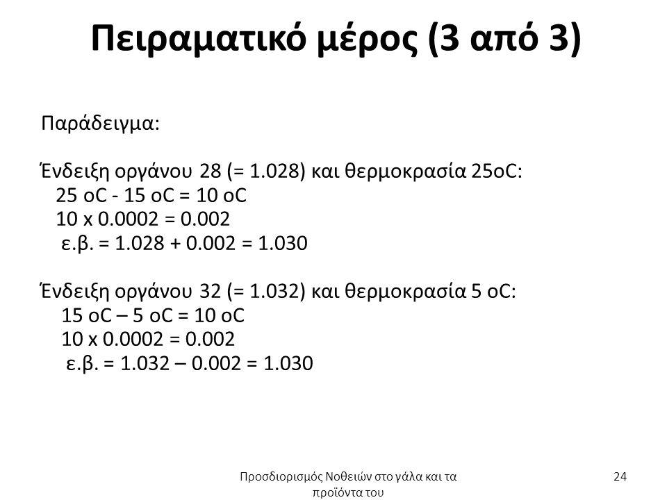 Πειραματικό μέρος (3 από 3) Παράδειγμα: Ένδειξη οργάνου 28 (= 1.028) και θερμοκρασία 25oC: 25 oC - 15 oC = 10 oC 10 x 0.0002 = 0.002 ε.β.