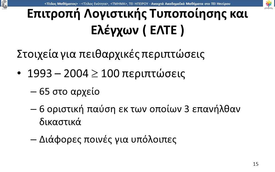 1515 -,, ΤΕΙ ΗΠΕΙΡΟΥ - Ανοιχτά Ακαδημαϊκά Μαθήματα στο ΤΕΙ Ηπείρου Επιτροπή Λογιστικής Τυποποίησης και Ελέγχων ( ΕΛΤΕ ) Στοιχεία για πειθαρχικές περιπ