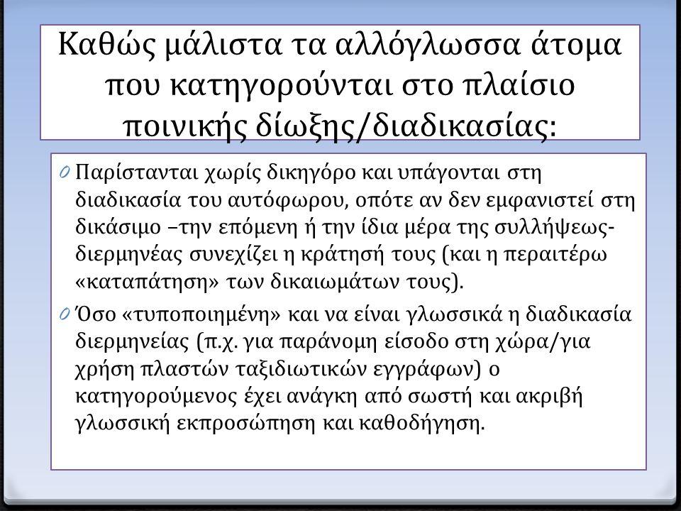 Καθώς μάλιστα τα αλλόγλωσσα άτομα που κατηγορούνται στο πλαίσιο ποινικής δίωξης/διαδικασίας: 0 Παρίστανται χωρίς δικηγόρο και υπάγονται στη διαδικασία