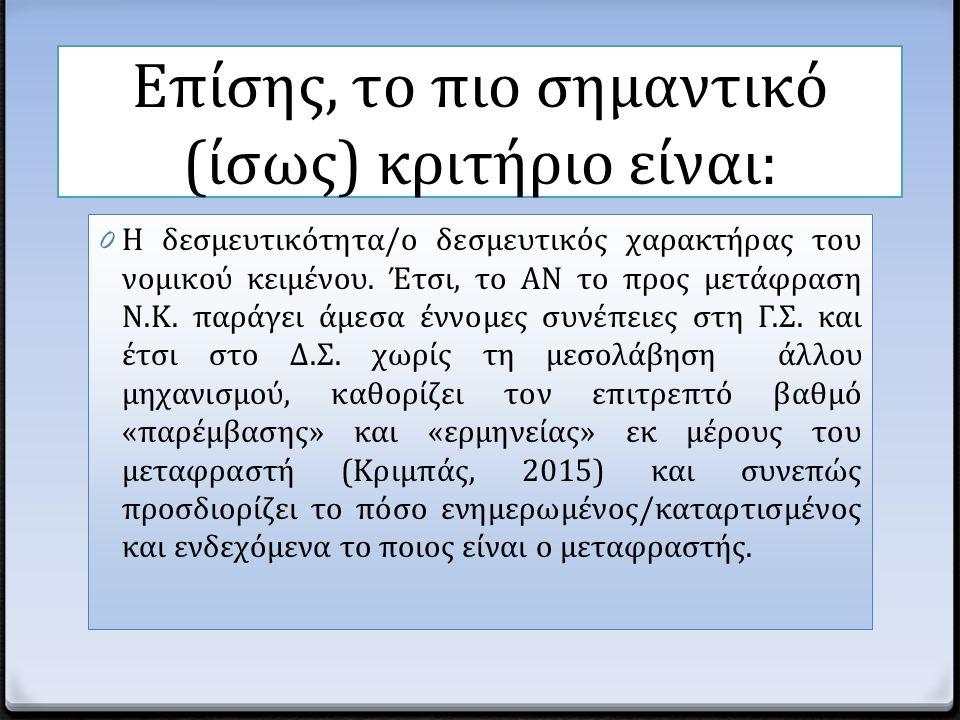Επίσης, το πιο σημαντικό (ίσως) κριτήριο είναι: 0 Η δεσμευτικότητα/ο δεσμευτικός χαρακτήρας του νομικού κειμένου. Έτσι, το ΑΝ το προς μετάφραση Ν.Κ. π