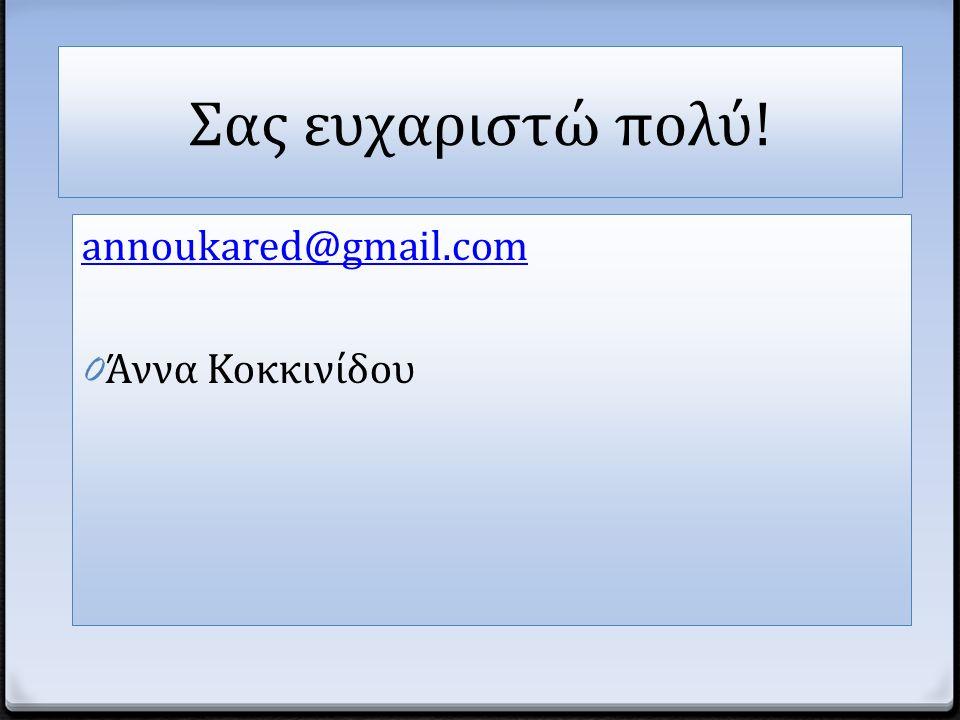 Σας ευχαριστώ πολύ! annoukared@gmail.com 0 Άννα Κοκκινίδου