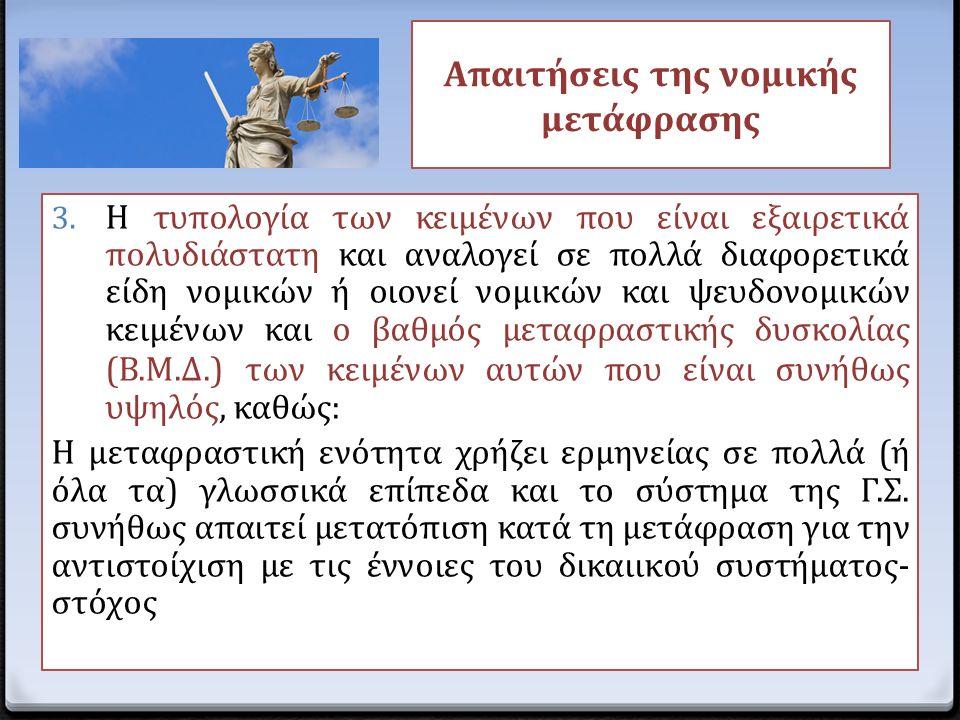 Απαιτήσεις της νομικής μετάφρασης 3. Η τυπολογία των κειμένων που είναι εξαιρετικά πολυδιάστατη και αναλογεί σε πολλά διαφορετικά είδη νομικών ή οιονε