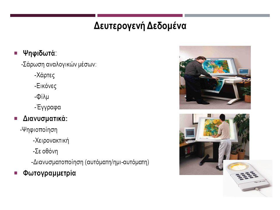 Δευτερογενή Δεδομένα  Ψηφιδωτά : - Σάρωση αναλογικών μέσων: -Χάρτες -Εικόνες -Φίλμ -Έγγραφα  Διανυσματικά : - Ψηφιοποίηση -Χειρονακτική -Σε οθόνη -Διανυσματοποίηση (αυτόματη/ημι-αυτόματη)  Φωτογραμμετρία