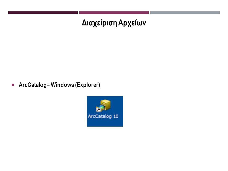 Διαχείριση Αρχείων  ArcCatalog= Windows (Explorer)