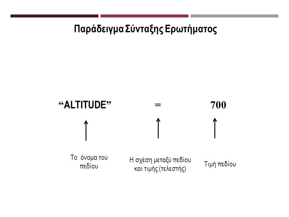 Παράδειγμα Σύνταξης Ερωτήματος ALTITUDE = 700 Το όνομα του πεδίου Η σχέση μεταξύ πεδίου και τιμής (τελεστής) Τιμή πεδίου