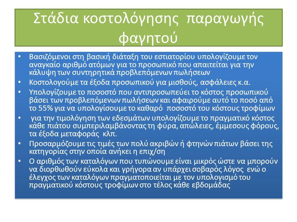 Στάδια κοστολόγησης παραγωγής φαγητού Βασιζόμενοι στη βασική διάταξη του εστιατορίου υπολογίζουμε τον αναγκαίο αριθμό ατόμων για το προσωπικό που απαιτείται για την κάλυψη των συντηρητικά προβλεπόμενων πωλήσεων Κοστολογούμε τα έξοδα προσωπικού για μισθούς, ασφάλειες κ.α.