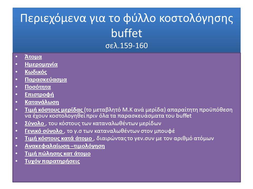 Περιεχόμενα για το φύλλο κοστολόγησης buffet σελ.159-160 Άτομα Ημερομηνία Κωδικός Παρασκεύασμα Ποσότητα Επιστροφή Κατανάλωση Τιμή κόστους μερίδας (το μεταβλητό Μ.Κ ανά μερίδα) απαραίτητη προϋπόθεση να έχουν κοστολογηθεί πριν όλα τα παρασκευάσματα του buffet Σύνολο, του κόστους των καταναλωθέντων μερίδων Γενικό σύνολο, το γ.σ των καταναλωθέντων στον μπουφέ Τιμή κόστους κατά άτομο, διαιρώντας το γεν.συν με τον αριθμό ατόμων Ανακεφαλαίωση –τιμολόγηση Τιμή πώλησης κατ άτομο Τυχόν παρατηρήσεις