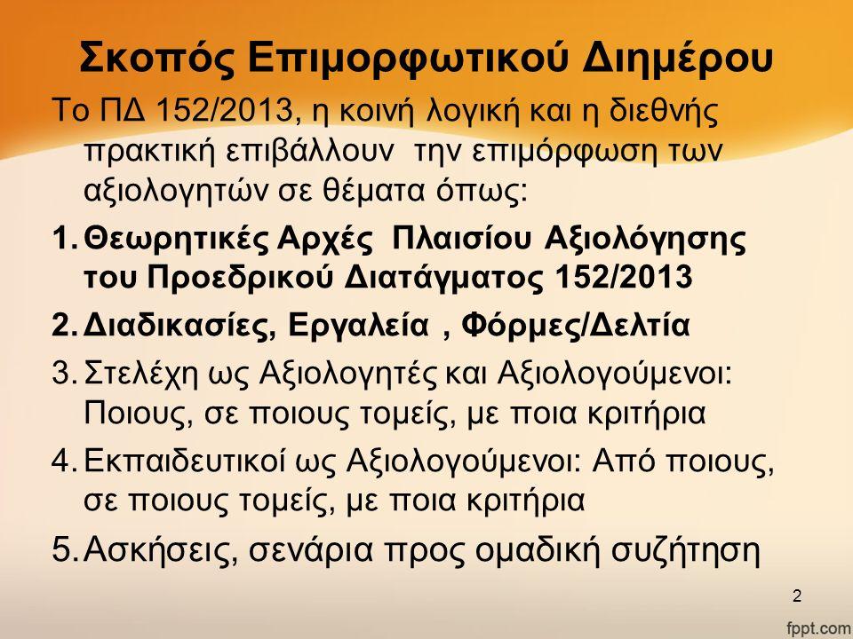 Σκοπός Επιμορφωτικού Διημέρου Το ΠΔ 152/2013, η κοινή λογική και η διεθνής πρακτική επιβάλλουν την επιμόρφωση των αξιολογητών σε θέματα όπως: 1.Θεωρητ