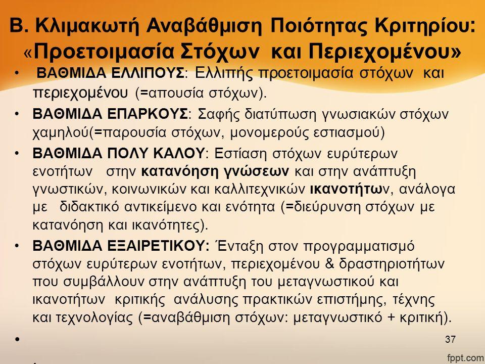 B. Κλιμακωτή Αναβάθμιση Ποιότητας Κριτηρίου : « Προετοιμασία Στόχων και Περιεχομένου» ΒΑΘΜΙΔΑ ΕΛΛΙΠΟΥΣ: Ελλιπής προετοιμασία στόχων και περιεχομένου (
