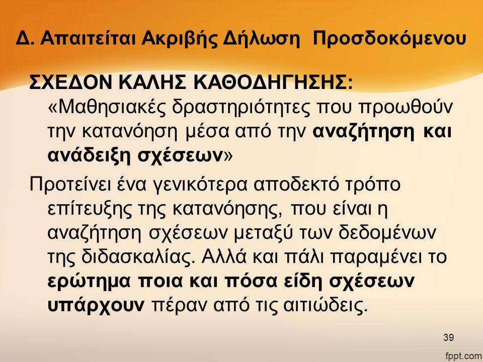 Δ. Απαιτείται Ακριβής Δήλωση Προσδοκόμενου ΣΧΕΔΟΝ ΚΑΛΗΣ ΚΑΘΟΔΗΓΗΣΗΣ: «Μαθησιακές δραστηριότητες που προωθούν την κατανόηση μέσα από την αναζήτηση και