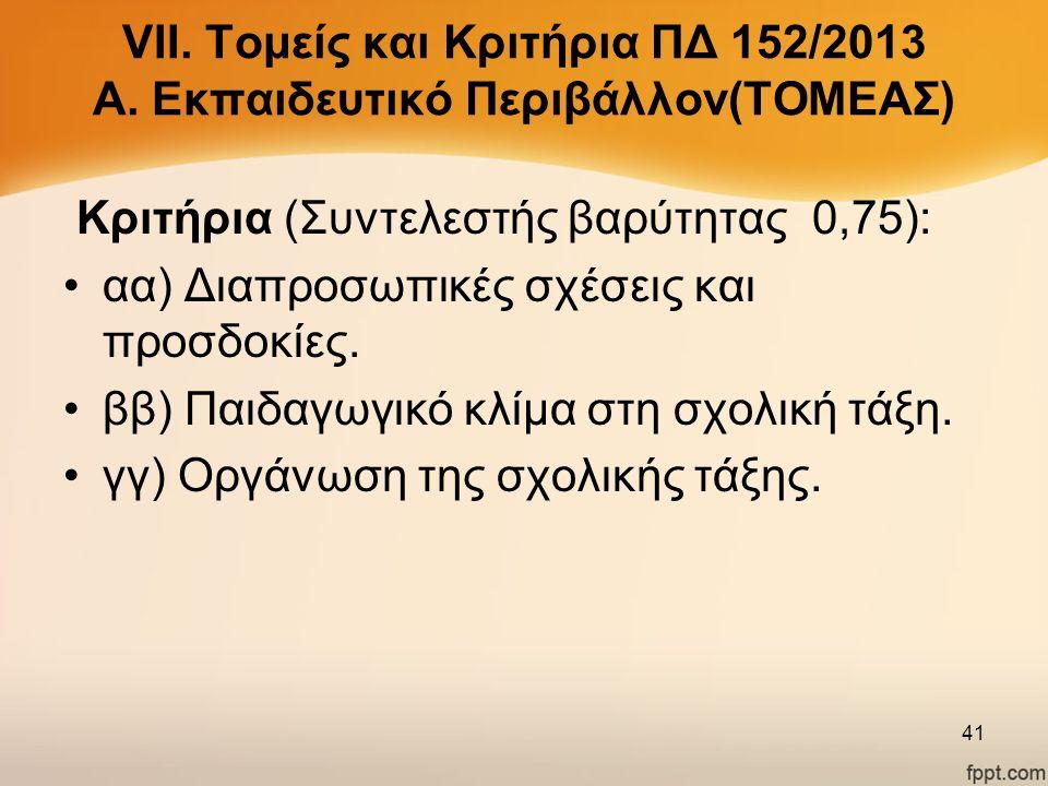 VΙΙ. Τομείς και Κριτήρια ΠΔ 152/2013 Α. Εκπαιδευτικό Περιβάλλον(ΤΟΜΕΑΣ) Κριτήρια (Συντελεστής βαρύτητας 0,75): αα) Διαπροσωπικές σχέσεις και προσδοκίε
