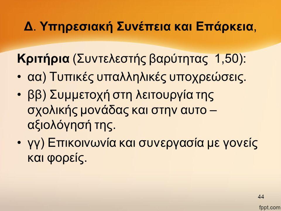 Δ. Υπηρεσιακή Συνέπεια και Επάρκεια, Κριτήρια (Συντελεστής βαρύτητας 1,50): αα) Τυπικές υπαλληλικές υποχρεώσεις. ββ) Συμμετοχή στη λειτουργία της σχολ