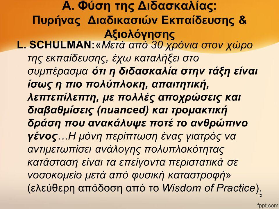 Α. Φύση της Διδασκαλίας: Πυρήνας Διαδικασιών Εκπαίδευσης & Αξιολόγησης L. SCHULMAN:«Μετά από 30 χρόνια στον χώρο της εκπαίδευσης, έχω καταλήξει στο συ
