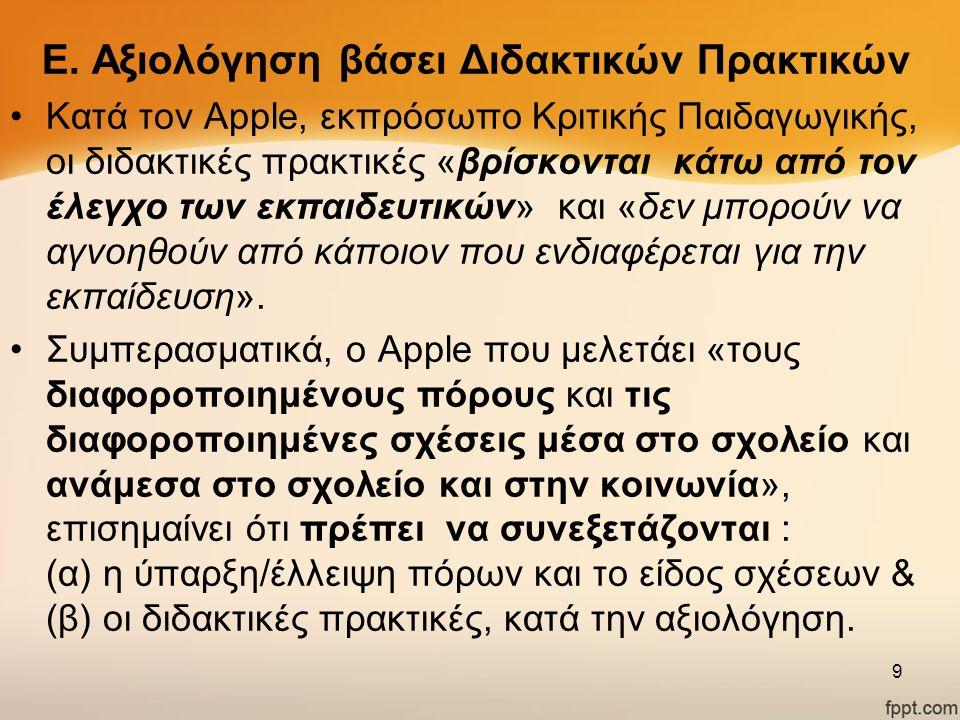 Ε. Αξιολόγηση βάσει Διδακτικών Πρακτικών Κατά τον Apple, εκπρόσωπο Κριτικής Παιδαγωγικής, οι διδακτικές πρακτικές «βρίσκονται κάτω από τον έλεγχο των