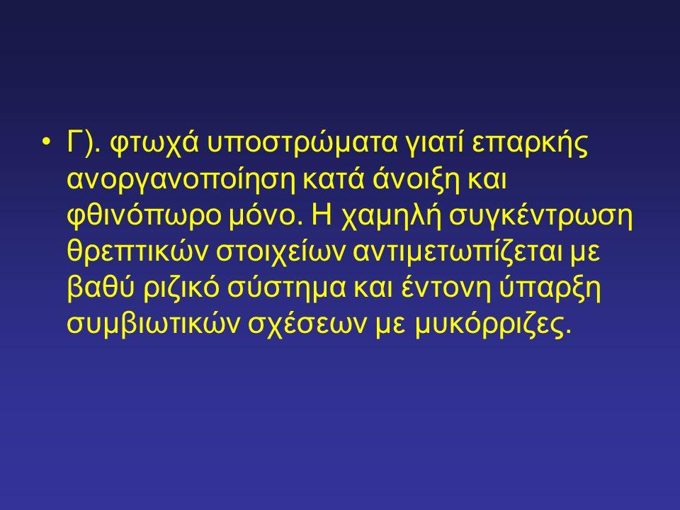 Γ).φτωχά υποστρώματα γιατί επαρκής ανοργανοποίηση κατά άνοιξη και φθινόπωρο μόνο.
