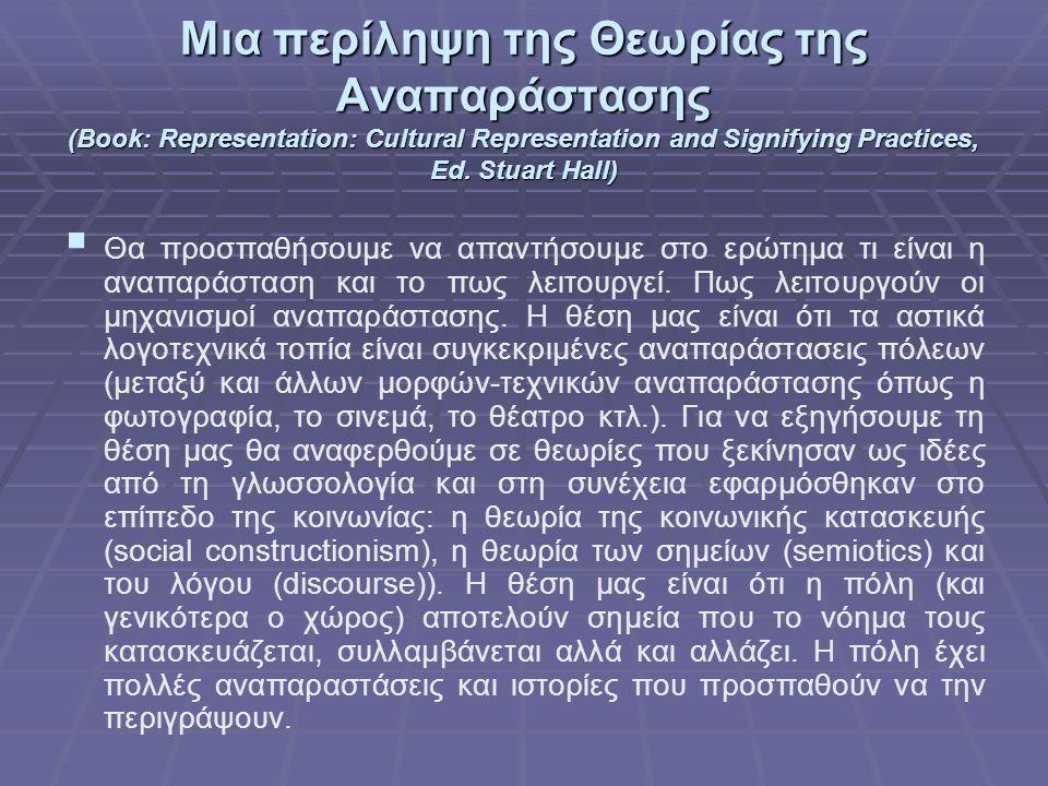 Μια περίληψη της Θεωρίας της Αναπαράστασης (Book: Representation: Cultural Representation and Signifying Practices, Ed. Stuart Hall)   Θα προσπαθήσο