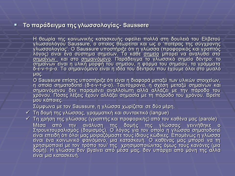  Το παράδειγμα της γλωσσολογίας- Saussere Η θεωρία της κοινωνικής κατασκευής οφείλει πολλά στη δουλειά του Ελβετού γλωσσολόγου Saussure, ο οποίος θεωρείται και ως ο 'πατέρας της σύγχρονης γλωσσολογίας'.